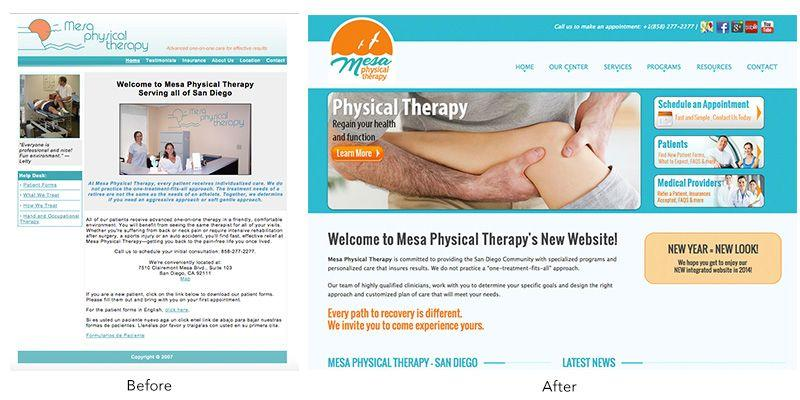 MesaPhysicalTherapy website before after
